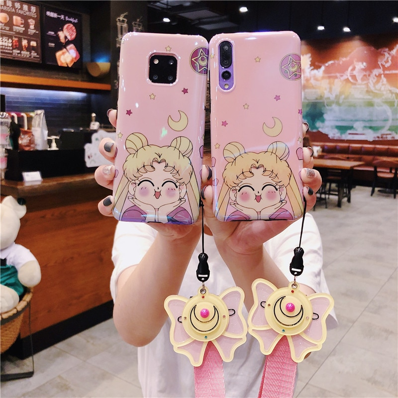 Funda de Sailor Moon para Huawei P20 pro/ P30 pro, funda de teléfono Rosa honor 9/10 + correa de espejo de maquillaje Mate 10/20 pro, regalo para niñas Nova3/4