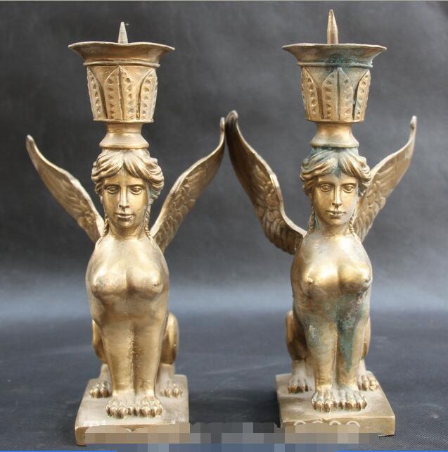 "10 ""figura popular china de bronce belleza desnuda bella candelero candelabro par estatua"