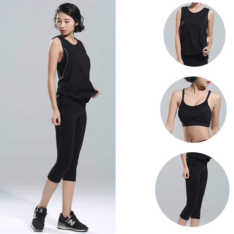 3 piezas = 1 Conjunto de traje de Fitness para mujer traje de Yoga nuevo verano deportes apretados pantalones de Yoga chaleco deportivo + sujetador + Pantalones deportivos rápido seco Fitness QY