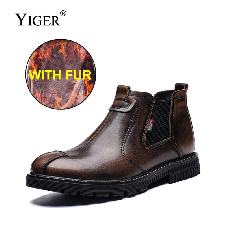 Nuevas botas Chelsea YIGER de piel auténtica para hombre, botas tipo Martins, botines de hombre de invierno cálidos con piel, cepillo para zapatos deslizable para hombre 239