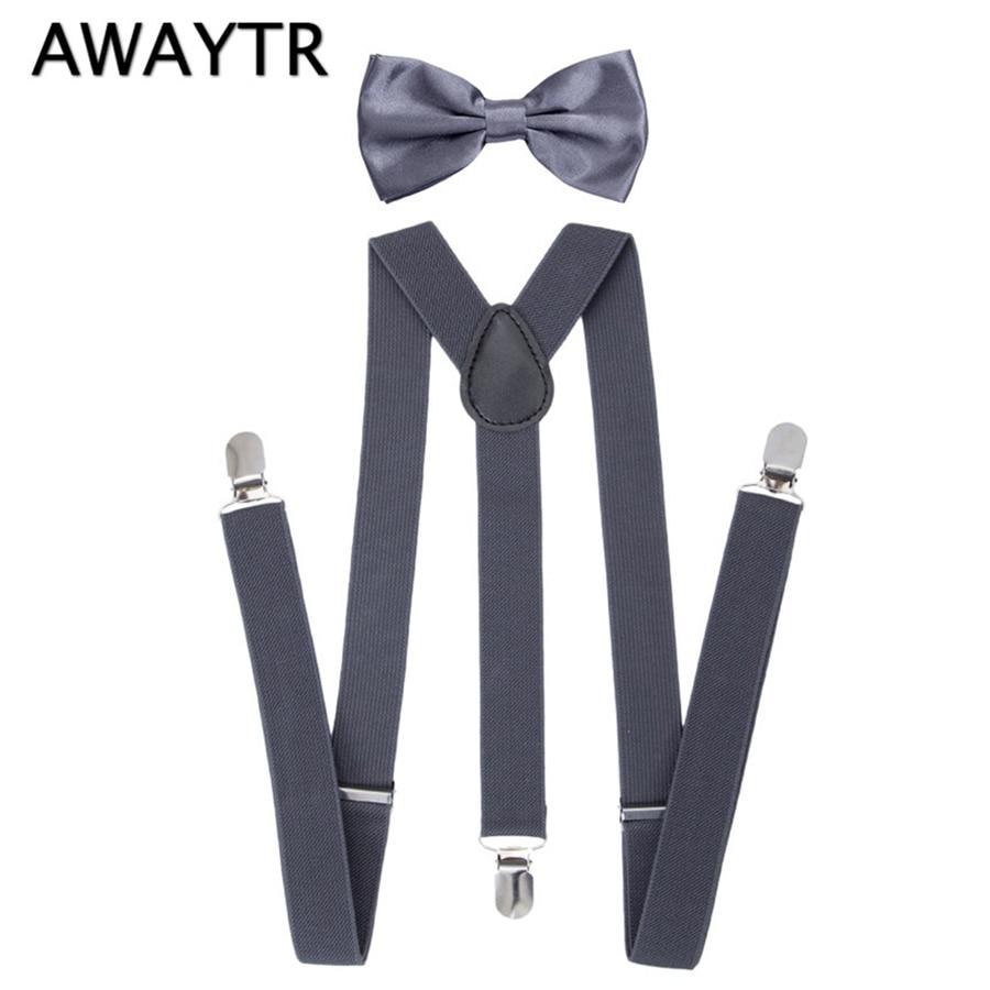 Tirantes AWAYTR de 90cm, 2 uds. Con Set de corbatas, tirantes para niños grandes, azules, elásticos, para fiestas, bodas, con tres tirantes