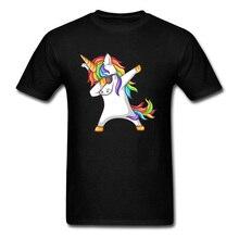 Dabbing licorne 2018 danse T-shirt hommes arc-en-ciel dessin animé T-shirt mignon cheval imprimé fête danniversaire cadeau vêtements personnalité