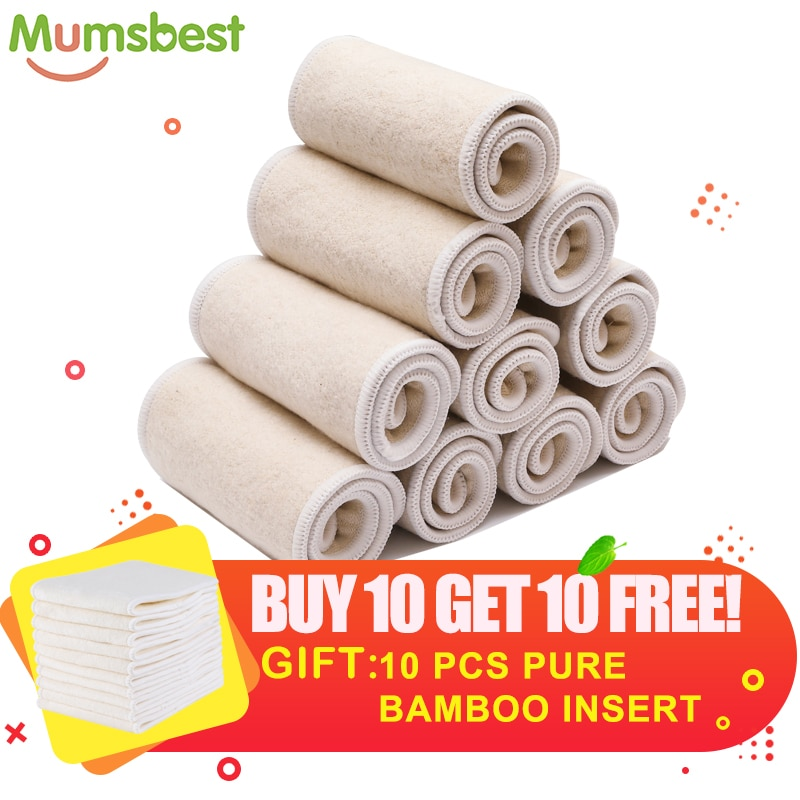 [Mumsbest] Washable Layer Insert 10Pc Hemp Cotton 10Pc Bamboo Nappies Infant Cloth Diapers Nappy Absorbent Hemp Insert In Diapes