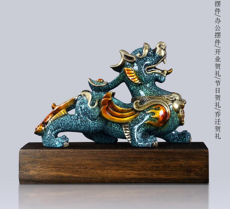 Limited Edition-beste geschenk # TOP shop home business kunst Sammlung # Glück Feuer Einhorn drachen PIXIU bronze Skulptur dekor KUNST