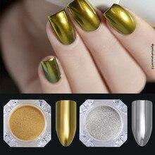 2pcs mirror Nail Glitter Chrome  Dip Glitter Polishing for Nail Decoration Spangles Nail Art Brush Set