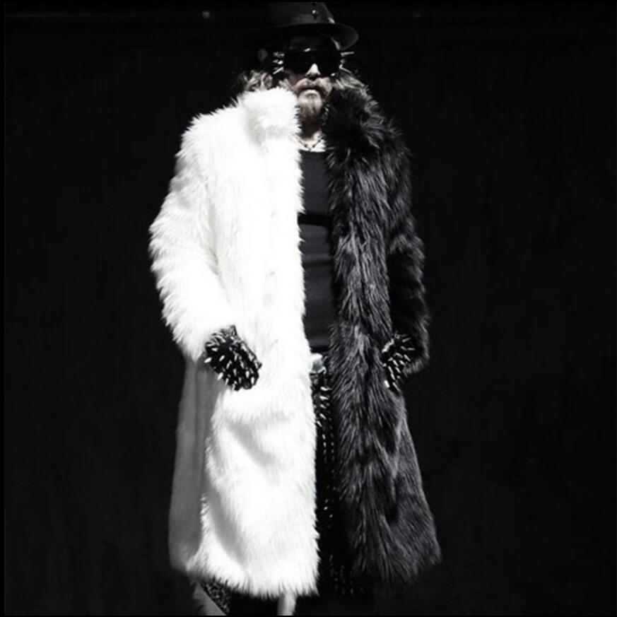 S-3xl 2021 الشتاء جديد الرجال الملابس فو الفراء معطف تقليد الثعلب الفراء كبير حجم معطف سترة واقية مصفف شعر المغني المرحلة ازياء