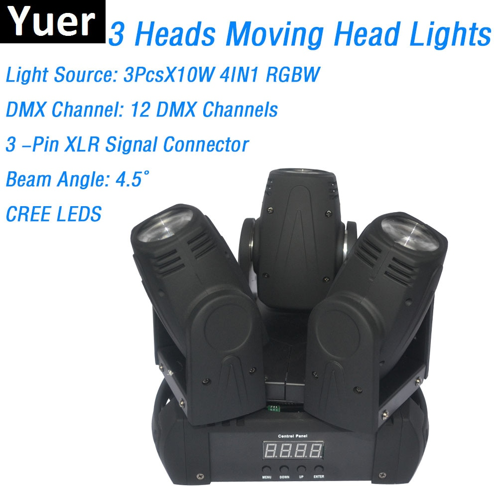 3 Heads Moving Head Beam Lights High Quality 3X10W RGBW 4IN1 CREE LEDS LED Moving Head Stage Lights DMX Dj Lights For Sales