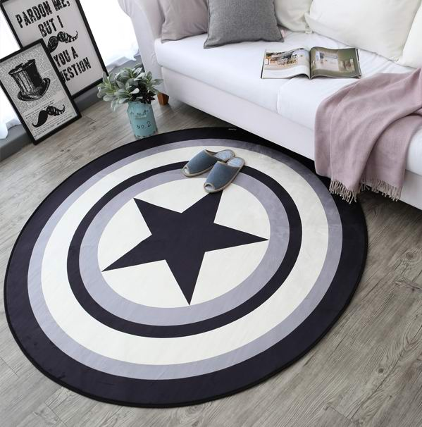 A tendência do tapete circular marvel capitão américa escudo cobertor sala de estar mesa quarto tapete computador almofada criança