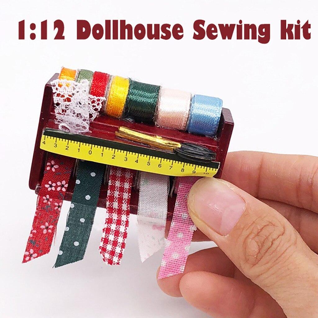 Kit de costura en miniatura para casa de muñecas, suministros de costura, herramientas de caja para agujas, accesorio 112, accesorios para casa de muñecas, juguetes para niños, regalos