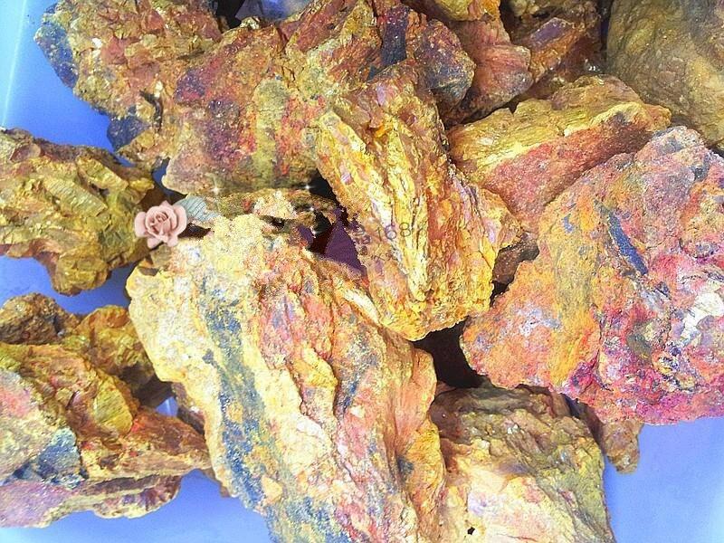 Espécimen Mineral Vug de cristal de sulfuro de arsénico ORPIMENT amarillo dorado deslumbrante 100-500g