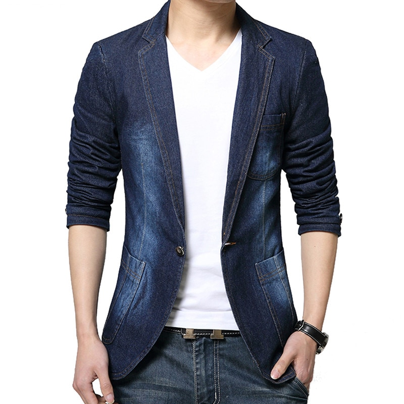 MYAZHOU-سترة جينز للرجال مناسبة ، نحيفة ، كاوبوي ، بدلة ترفيهية ، غير رسمية ، بزر واحد ، جديد ، 2019