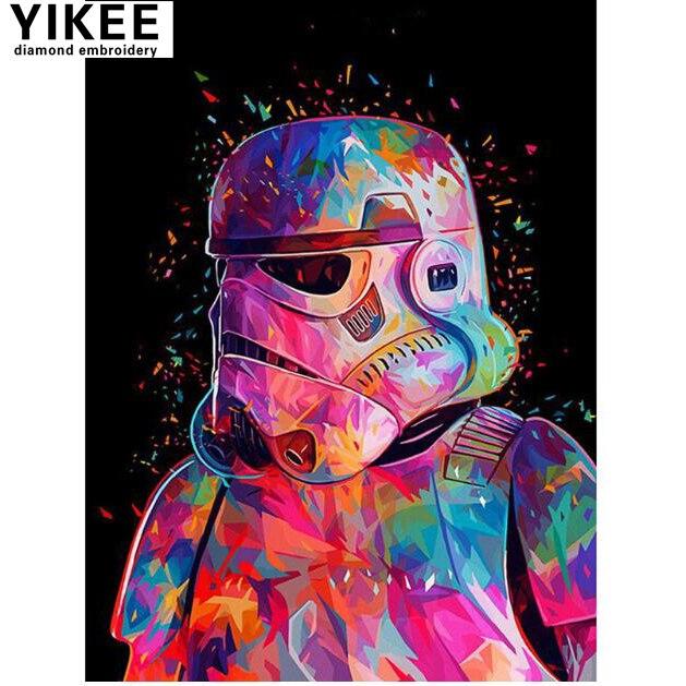 YIKEE diamond embroidery cartoon,full square,star wars,5d,diamond mosaic,diamond painting star wars