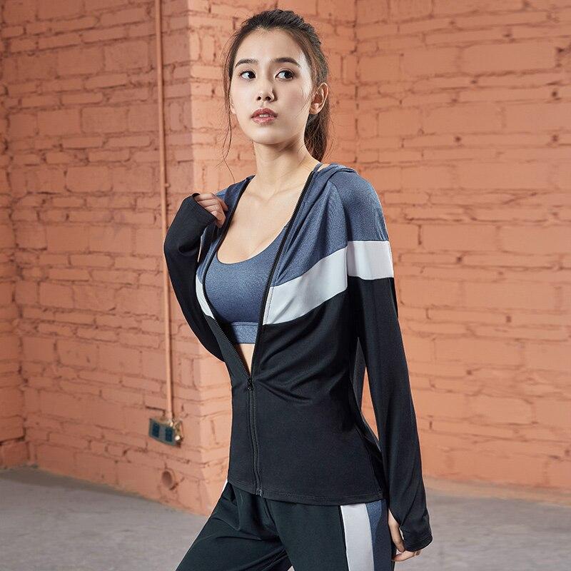 EDONNICA 2019 Long Sleeve Yoga Shirts Women Hooded Sports Tops Outdoors Training Fitness Zipper Jackets