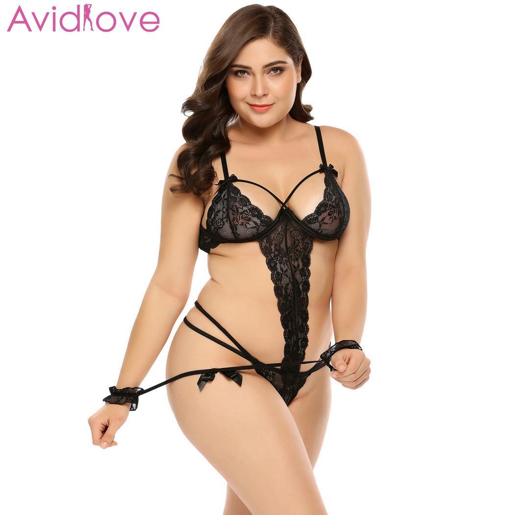 Avidlove mujeres Bodystocking disfraces Sexy Teddy de talla grande Sexy fina de encaje Sexy Lencería esposas