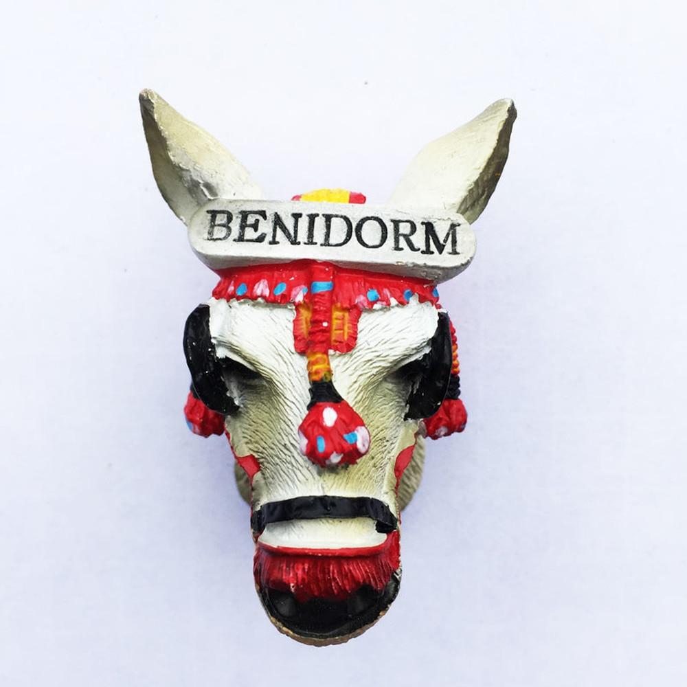 Benidorm-Souvenirs de tourisme 3D espagnol | Autocollant cadeau magnétique, tenue fait à la main d'âne, voiture, frigo, décor de maison, réfrigérateur