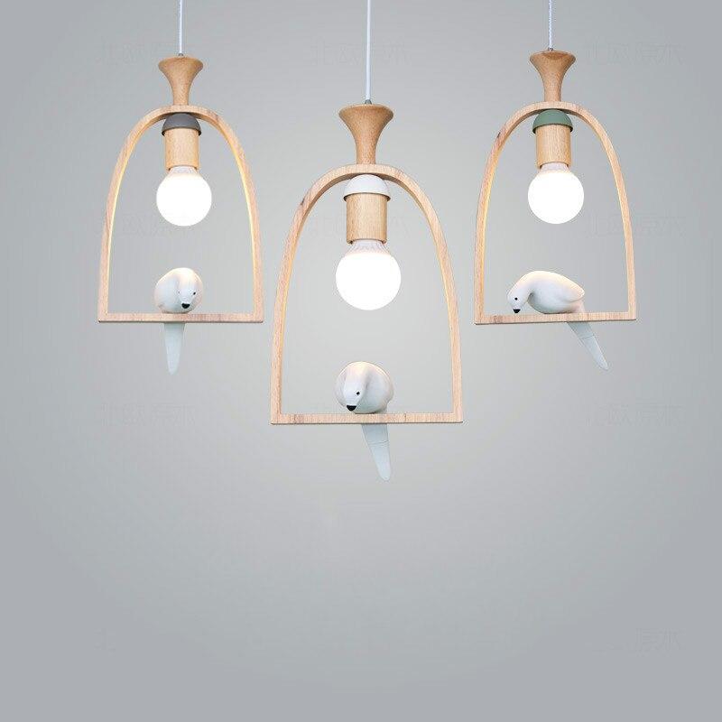 Candelabro nórdico para restaurante con diseño de pájaro, lámpara original de madera sólida para un solo salón, lámpara de madera para el balcón LU807141