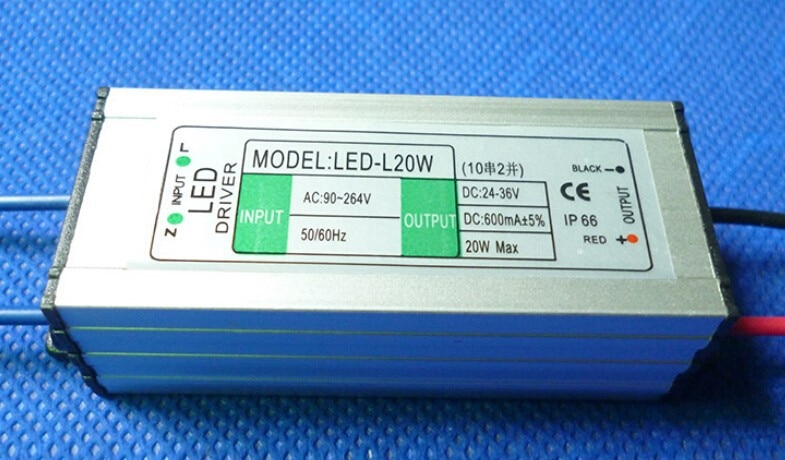5 pieces Waterproof LED Driver 10 series 2 parallel 20W 600MA Constant Current Driver LED Power Supply Input AC 90-264 V