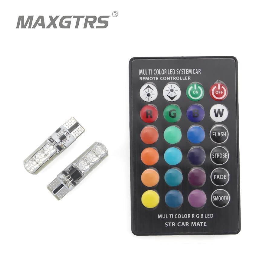 2x T10 W5W 168 194 SMD 6-LED 5050 пульт дистанционного управления RGB для чтения автомобиля, клиновидные огни для автомобиля, задний фонарь, боковая парков...