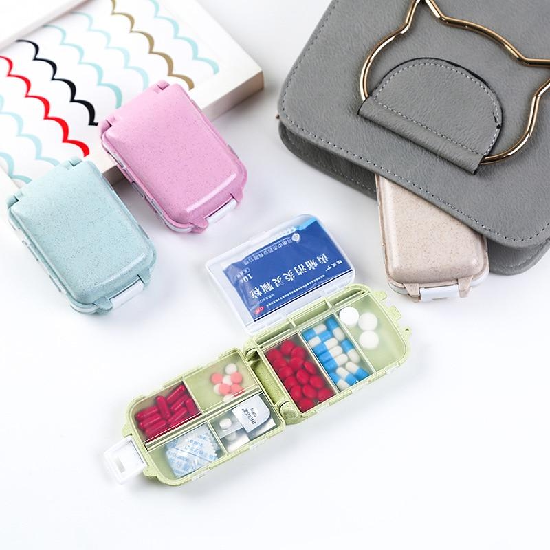 3 Layers Portable Mini Folding Pill Box Organizer Wheat Stalks Travel Tablet Medicine Storage Dispenser Holder Health Care Tool