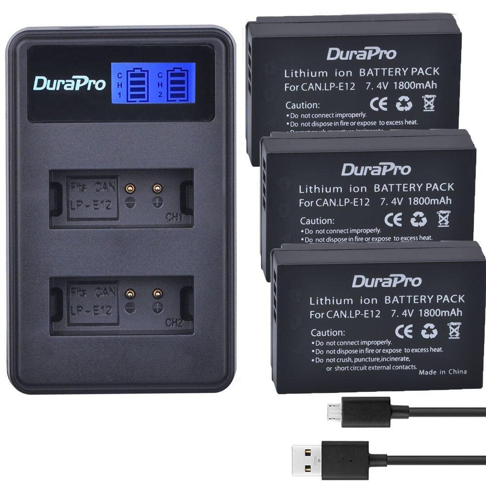 Batería de LP-E12 LPE12 LP E12 Para Cámara, Cargador USB con LCD...
