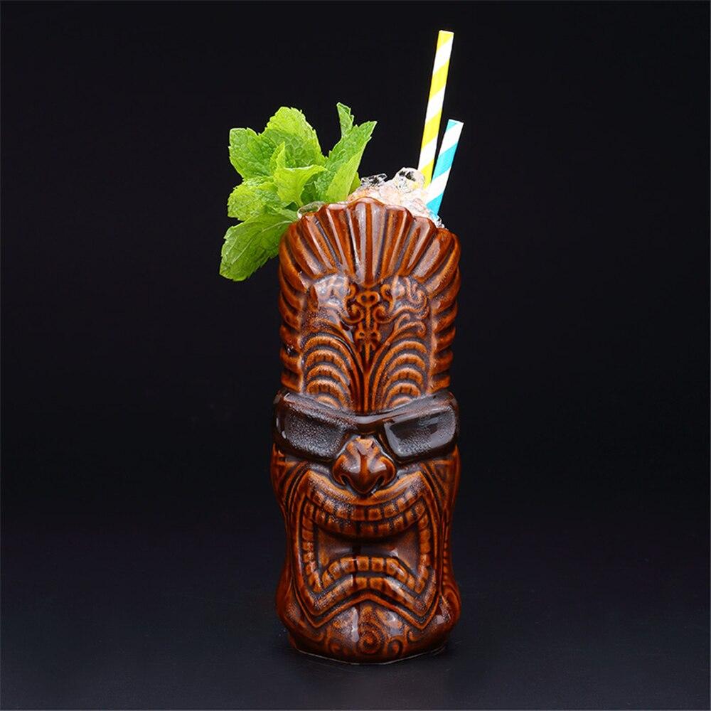 Taza de cerámica Tiki Hawaiana de 550ml tazón taza creativa de porcelana cerveza vino