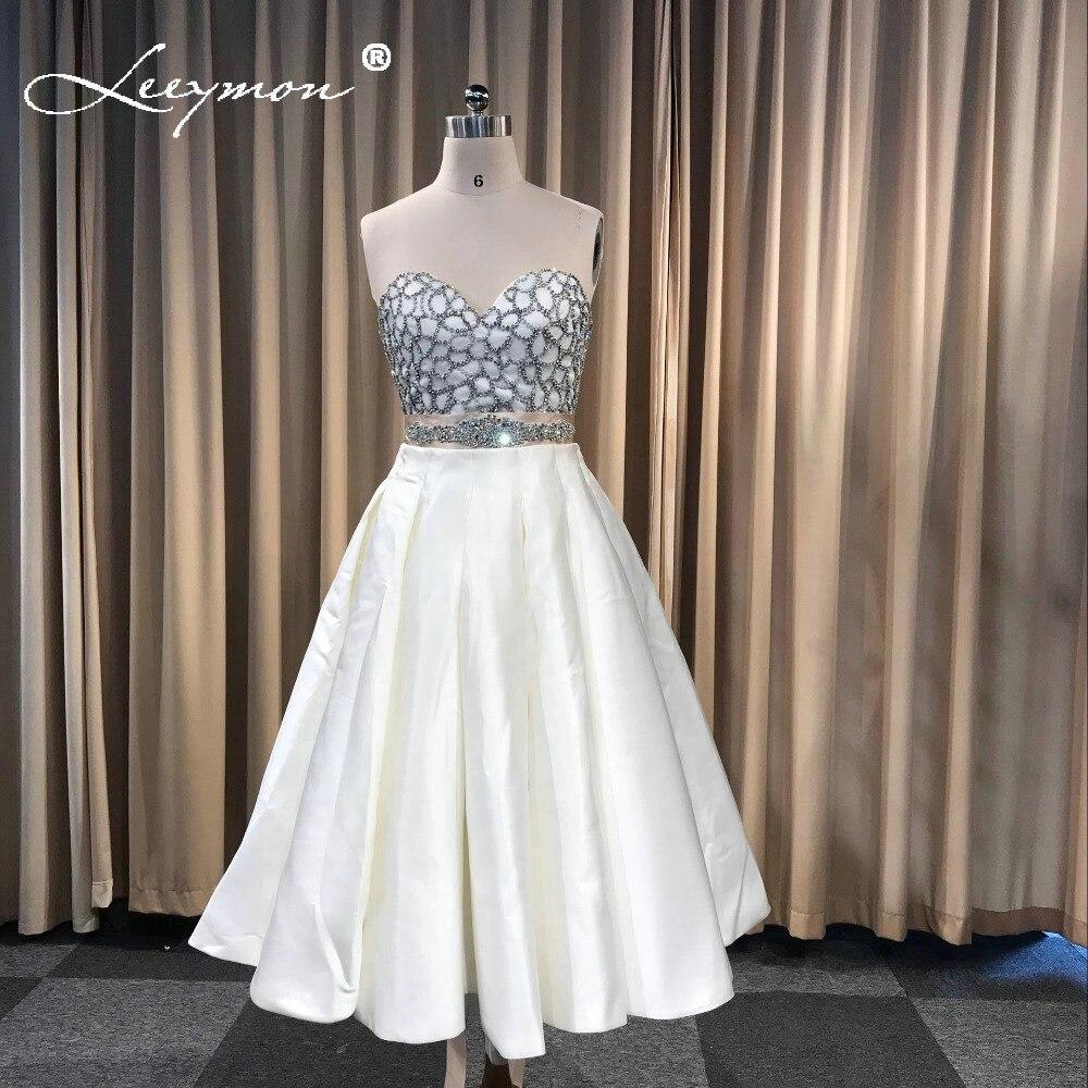 Leeymon Custom Made Duas Peças de Cetim Sweet Heart Mangas Curto Vestido de Baile Vestido De Festa Do Vintage Barato Long Prom Dress