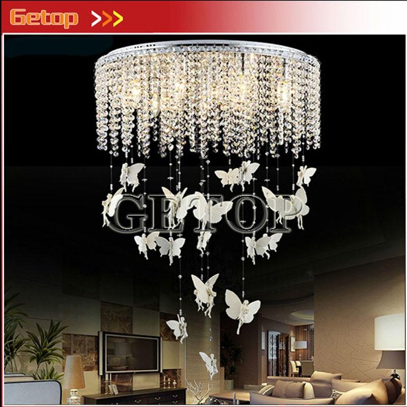 Cortina de cristal moderna, lámpara colgante de techo redondo, Lustres de Ángel, luces LED de ensueño, sala de estar, restaurante, habitación de niños