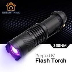 Яркий ультрафиолетовый фиолетовый свет УФ-фонарик светодиодный фонарик черный свет 365 нм инспекционная лампа