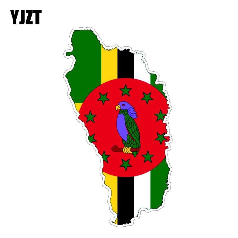 YJZT 8.8CM*16.3CM Car Sticker Dominica Flag Map Decal Accessories 6-1211