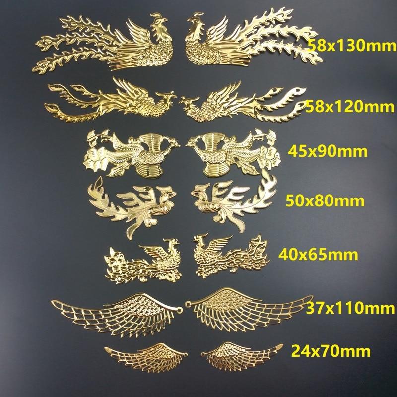 5 пара/лот Феникс Дракон металлическая филигрань цветок обернуть соединитель ювелирных изделий DIY компоненты