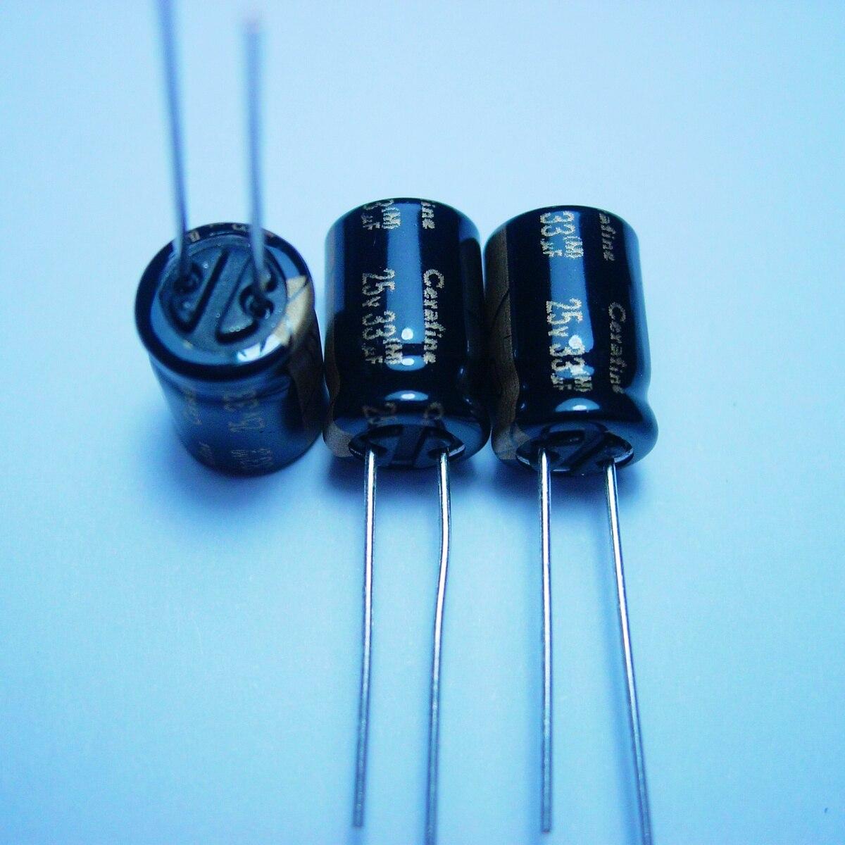 10pcs/20pcs ELNA Cerafine 25v33uf copper feet audio capacitance audio super capacitor electrolytic capacitors free shipping 5pcs 10pcs elna silmcii 16v2200uf 18 40 copper capacitor audio super capacitor electrolytic capacitors free shipping