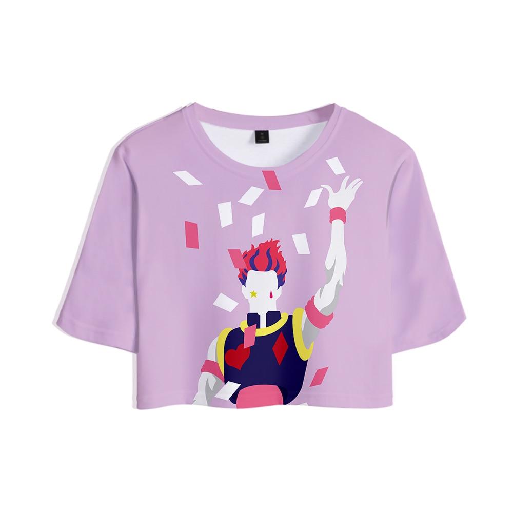 Hisoka 3D Printed Kpop Women Crop Tops Fashion Summer Short Sleeve T-shirts 2019 Hot Sale Girls Casual Streetwear Tshirts plus
