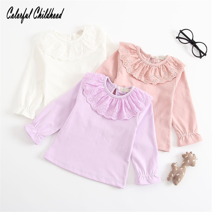0-2Y bebê camisa peter pan gola de renda de algodão puff manga comprida princesa estilo dla dzieci/Vauvan t-paita /Baju bayi/Baby t-bolur