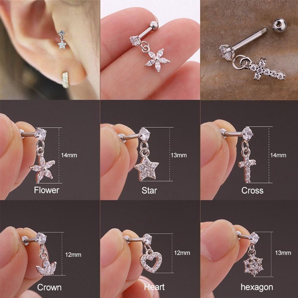 Nouveau coeur hexagone cristal Tragus oreille Piercing Plug acier inoxydable Daith boucles doreilles hélice Cartilage oreille Piercing bijoux
