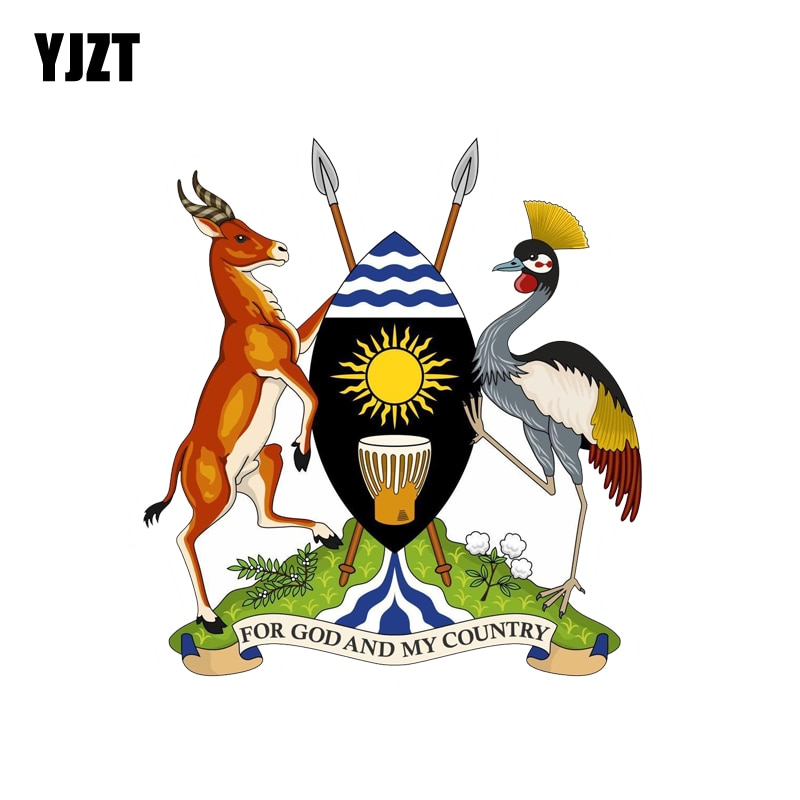 YJZT 11.2CM*12.1CM Funny Uganda Coat Of Arms Windows Car Sticker Car Accessories  6-2138