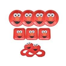 Omilut Elmo Seasame decoración de fiesta de calle platos desechables Elmo/manteles/tazas Elmo suministros para fiesta de cumpleaños chico