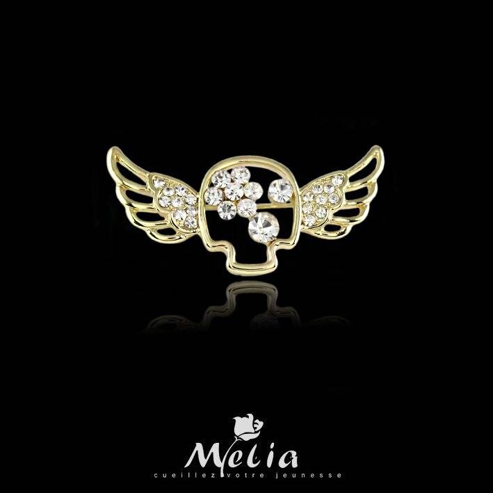 Joyería de cristal 2016 para mujer moda verde cobre Ángel chica oro/plata cristal austriaco broche pin joyería