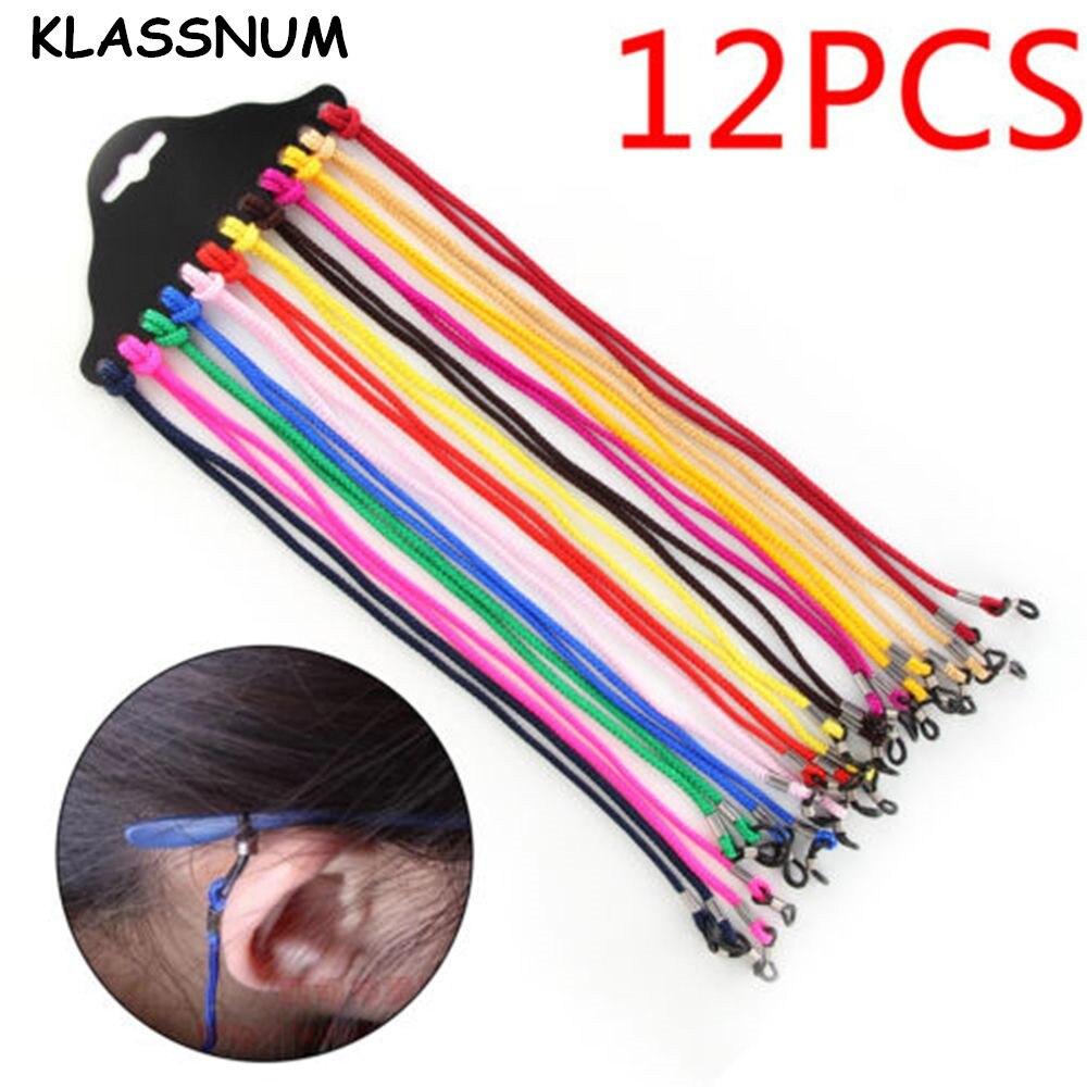 12 Uds nailon, gafas de cadena Cordon Lunettes Chaines Stretch gafas de sol cuerda gafas cordones cadenas gafas Accesorios