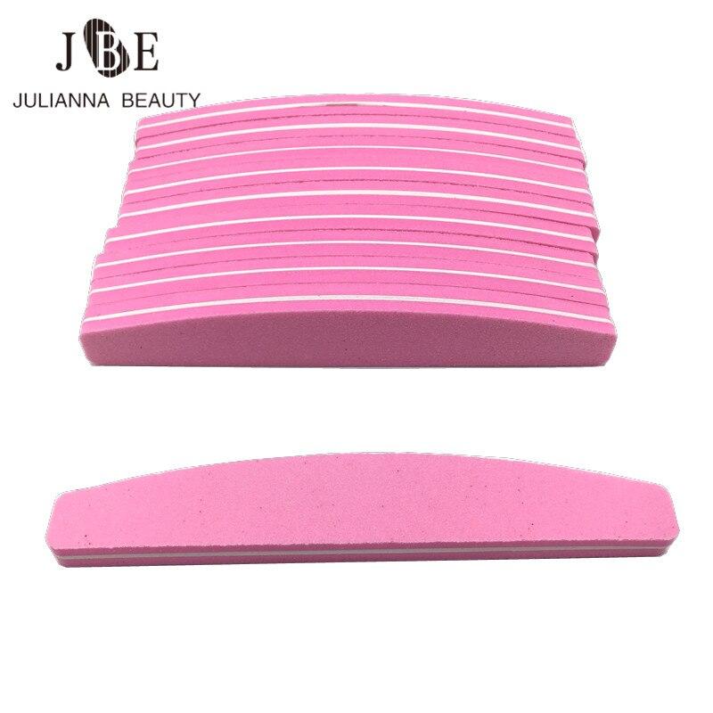 25 unids/lote Rosa profesional lima de uñas tampón arena para manicura Gel arte uñas esmalte de lija pedicura lijadora uñas herramientas
