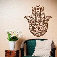 Hamsa-autocollant mural œil à la main   Autocollant mural de bouddha indien, décor de Studio de méditation de Yoga, pour maison bohème papier peint, affiche vinyle, Art AZ821