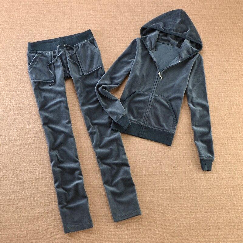 Chándal de tela de terciopelo 2020 para mujer, traje de terciopelo para mujer, chándal con capucha y pantalones sapphire