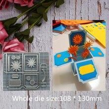Caja cuadrada de flores de regalo marcos de acero de Metal troquelado DIY chatarra de reserva álbum de fotos en relieve papel Cards108 * 130mm