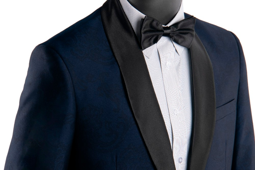 Trajes de boda Jacquard para hombre 2019 hechos a medida con diseño azul marino esmoquin de boda negro chal traje con solapa Homme Mariage