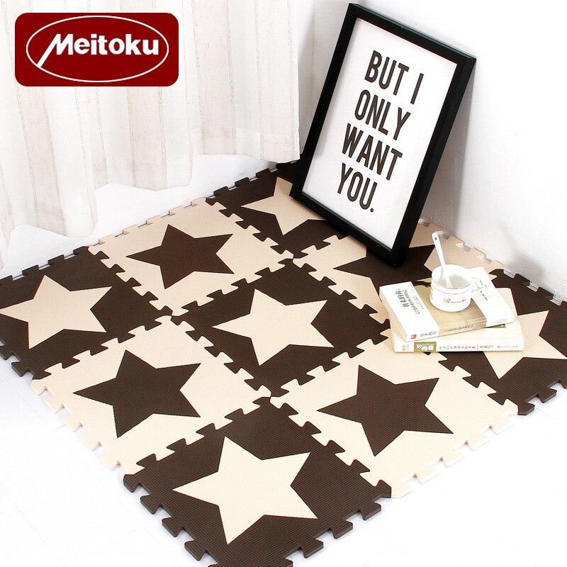 Rompecabezas de espuma EVA para bebés Meitoku, alfombra de juegos para niños con estrellas, Alfombra de juguete para niños, baldosas para hacer ejercicio entrelazadas, cada una: 32cmX32cm
