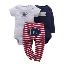 Conjunto de verano para bebés recién nacidos, pelele + pantalón de manga larga con estampado de letras, ropa unisex para recién nacidos, trajes infantiles, traje para primavera y otoño