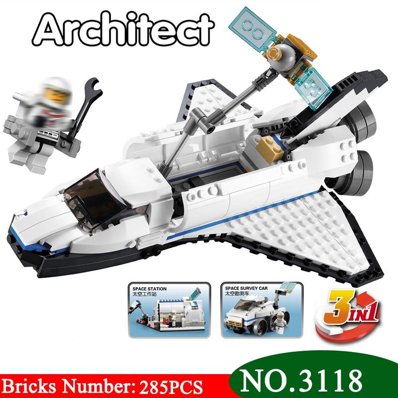 Kits de juegos de bloques de construcción 3 en 1 Space Shuttle Explorer 3118 modelo clásico juguetes para niños 31066
