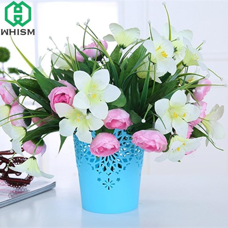 WHISM Plastic Flower Pot Hollow Garden Planter Desktop Plant Pots Artificial Flower Basket Decorative Plant Vase Garden Supplies