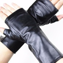 Gants demi-doigt en cuir et peau de mouton   Mitaines longues dames, doublure en velours, gants de conduite pour printemps et automne de 22 cm de longueur