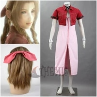 athemis anime final fantasy vii aerith cosplay costume red suit hair accessories bracelet custom made size