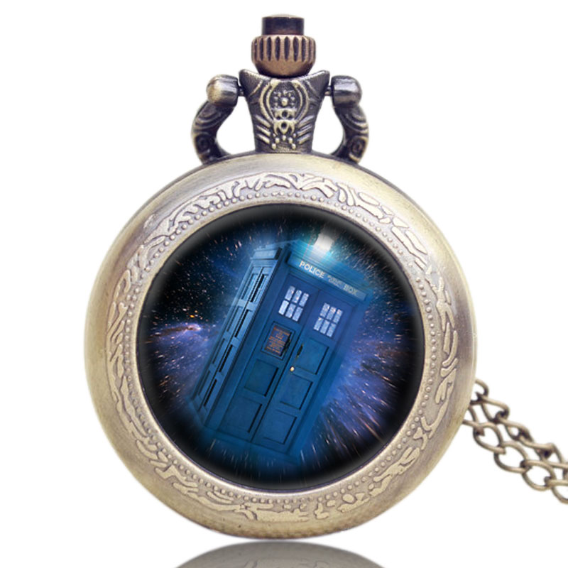 Reloj de bolsillo con cadena de cristal con diseño de caja de policía misteriosa tema Steampunk Doctor Who